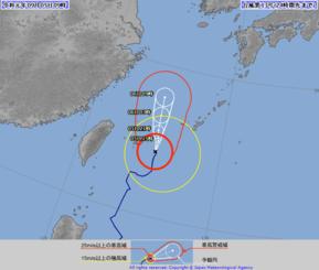 台風13号の進路予想図(気象庁のHPから)