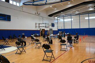 米軍嘉手納基地の接種会場