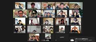 パソコン画面を通してオンライン上のワークショップに参加した南都の社員ら(同社提供)