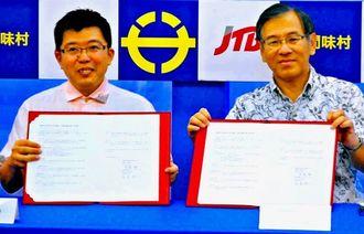 連携協定を結んだJTB沖縄の宮島社長(右)と宮里座間味村長=22日、県庁