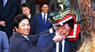 沖宮を参拝し、岡本(手前右)の頭を獅子にかみつかせる巨人・高橋監督=15日、那覇市