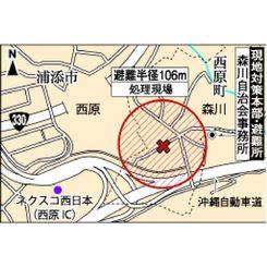 不発弾処理現場と避難所