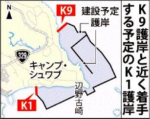 辺野古埋め立て:K9護岸とK1護岸