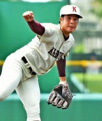 変化球主体の投球で打者を打ち取る嘉手納のエース・仲地玖礼
