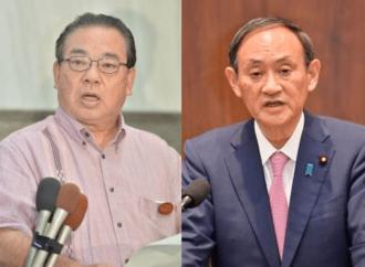 安慶田光男氏(左)と菅義偉首相
