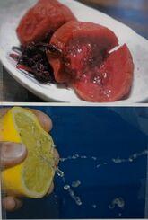 ブース内に設置されている梅干しとレモンの写真。唾液が出やすくなる効果があるという