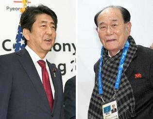 五輪開会式を前にレセプション会場で、韓国大統領らと記念撮影に臨む安倍首相(左)。右は会場入りした北朝鮮の金永南最高人民会議常任委員長=9日午後、韓国・平昌(共同)