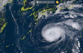 台風5号(3日9時10分現在、ひまわり8号リアルタイムwebから)