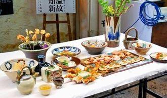 復刻された琉球王朝時代の陶器=26日、那覇市のフランス料理店プチット・リュ前