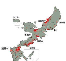 沖縄戦で読谷村出身者が亡くなった場所(1945年7月)一つの赤点が1人の戦没者を表す