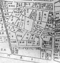 首里市真和志町の地図。下方にマージマチグヮー、「玉那ハ」姓は右と左上方に2軒ある