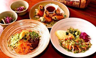 大皿に色鮮やかな盛り付け。左がジャージャー麺、右が焼豚丼、奥が揚げ春巻3本