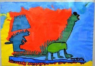 優秀賞を受賞したレブエルタス君の作品「恐竜の山」