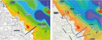 (右)2014年6月の第2回環境監視委で、沖縄防衛局が委員に配布した図面。仮設岸壁・桟橋の計3本が記載されていた(左)9日に防衛局が「2014年6月20日」の第2回環境監視委の配布資料としてホームページで公表した図面。橋は仮設桟橋(仮設岸壁)1本に変更されている