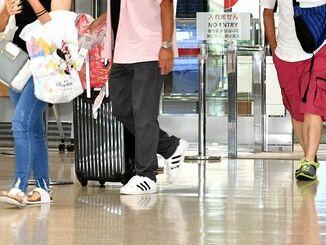 那覇空港では到着便の乗客はまばらで観光客の姿が目立った=30日午後