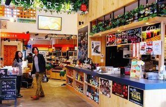 明るい店内に県内離島の特産品が並ぶ「離島マルシェ」=3日、那覇市牧志