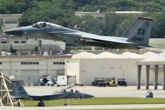 (資料写真)F15戦闘機=7日、嘉手納基地
