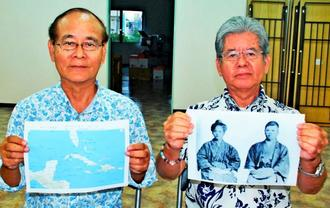 祖父母の写真や集めた資料を説明する玉栄寛洋さん(右)と章宏さん=2日、沖縄タイムス中部支社