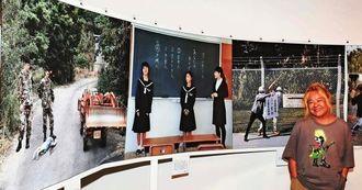 「大琉球写真絵巻 パート2」を県内で初めて発表する石川真生さん=25日午後、那覇市民ギャラリー