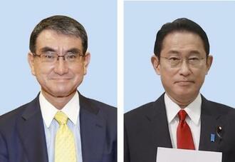 河野太郎氏(左)、岸田文雄氏(右)
