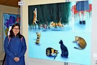 18歳・新垣なつみさん、沖展初出展で沖縄教育出版賞 ネコと女子高生を対比