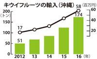 2016年の沖縄へのキウイ輸入、過去最高174トン 金額は5800万円に