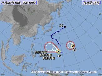 台風15号と16号の進路予想図(気象庁HPから)