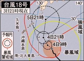台風18号 3日21時現在