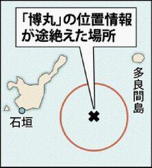 「博丸」の位置情報が途絶えた場所