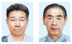 (左から)恩納村長選に立候補した長浜善巳氏と志喜屋文康氏