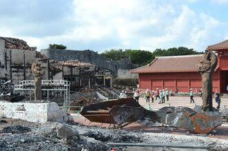 マスコミに公開された首里城火災の現場=2月4日、首里城公園