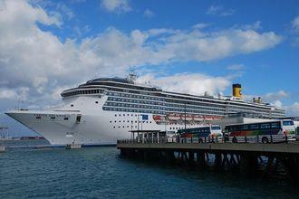 那覇港に入港した大型クルーズ船=2015年1月