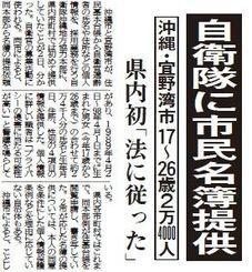 自衛隊への名簿提供を伝える沖縄タイムスの記事(2015年11月3日)
