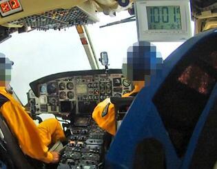 群馬県防災ヘリの乗員が撮影していた動画の一部。墜落直前に機体の周囲が雲に覆われている=2018年8月(運輸安全委員会提供)