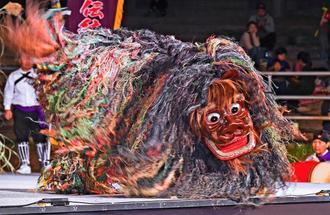 勇猛な演舞でトリを飾った、うるま市田場獅子舞=28日午後、うるま市・安慶名闘牛場(国吉聡志撮影)