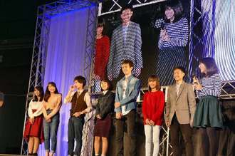 半年間かけて生み出した成果を発表する琉球フロッグスの8期メンバーら=11日、沖縄セルラーパーク那覇
