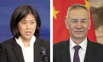 米通商代表部のタイ代表(左、ゲッティ=共同)、中国の劉鶴副首相(ロイター=共同)