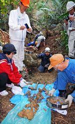 一体がほぼそろった日本兵とみられる遺骨を収骨する参加者=糸満市