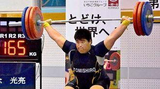 男子105キロ超級 スナッチでジュニア日本新記録の165キロを挙げた豊見城の知念光亮=栃木県立県南体育館(宮城栄作撮影)