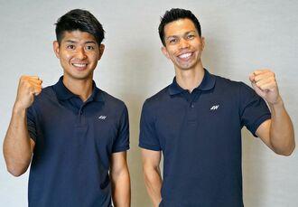 クラウドファンディングでバルの開店資金を集めているAVENTURA WORKSの當間健人さん(左)と松村太雅さん=沖縄タイムス社