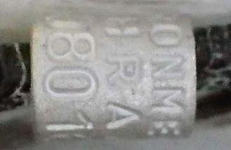 保護されたマミジロアジサシの足環(どうぶつたちの病院沖縄提供)