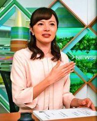 東京でのキャスターの仕事について語る伊波紗友里さん=東京港区のTBSテレビ