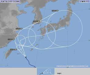台風18号・5日間の経路予想図(13日6時現在、気象庁HPから)