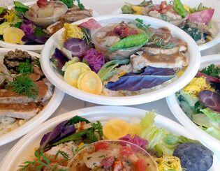 日替わりの750円弁当。この日はポークソテー、トウガンとチキンのワインビネガー煮込みなど=4日、中城村南上原の「Chez Nori(シェノリ)」