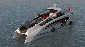 ゲームやアニメに登場する近未来のデザインにした電気推進船(提供・VIBE社)