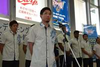 「声援が僕たちの力に」 キングス、沖縄市で今季の報告会