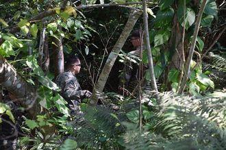 訓練場内の茂みの中で、落下したタイヤを探す米軍関係者ら(資料写真)