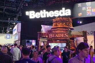 米ゲーム開発会社ベセスダ・ソフトワークスのブース=2019年6月、米ロサンゼルス(共同)
