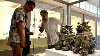 23年ぶりの共同窯「大宜味窯」で生まれた作品73点が展示されている=那覇市・壺屋焼物博物館