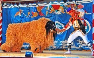 果物に見立てた鈴を持った猿(右)にいたずらされる獅子=13日、宜野座村松田